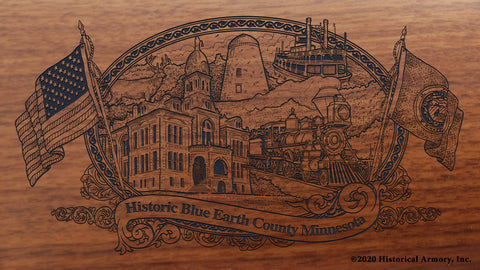 Blue Earth County Minnesota Engraved Rifle Buttstock