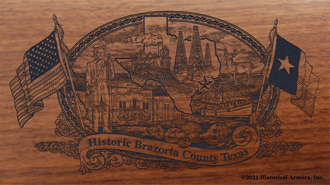 brazoria county texas engraved rifle buttstock