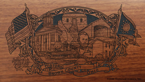 Brown County Ohio Engraved Rifle Buttstock