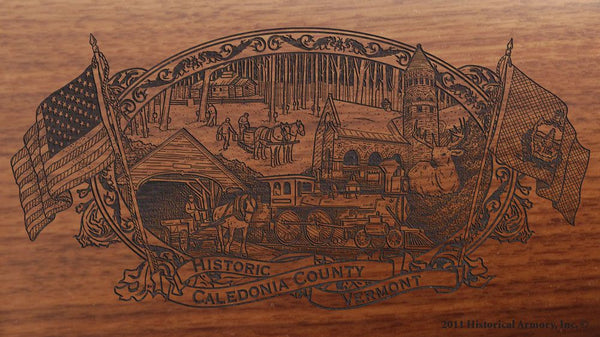 caledonia county vermont engraved rifle buttstock
