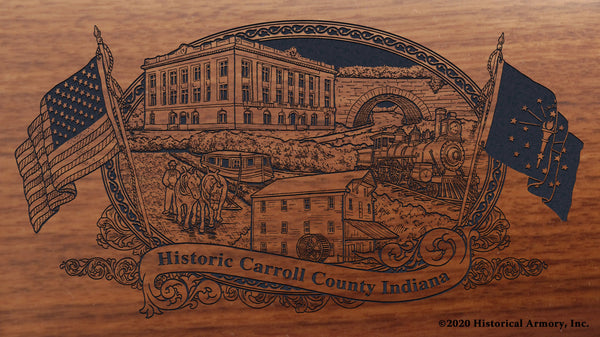 Carroll County Indiana Engraved Rifle Buttstock