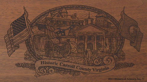 carroll county virginia engraved rifle buttstock