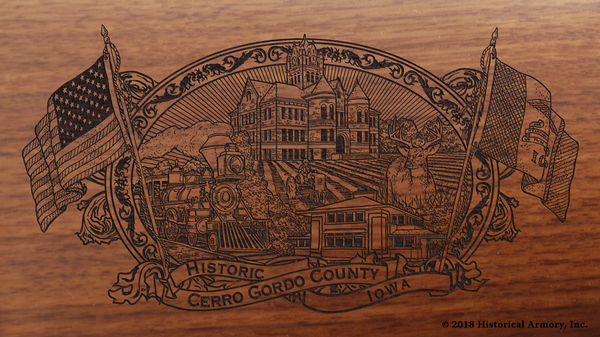 Cerro Gordo County Iowa Engraved Rifle