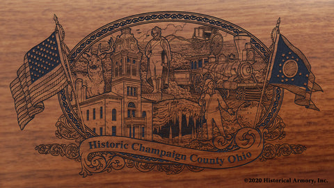 Champaign County Ohio Engraved Rifle Buttstock