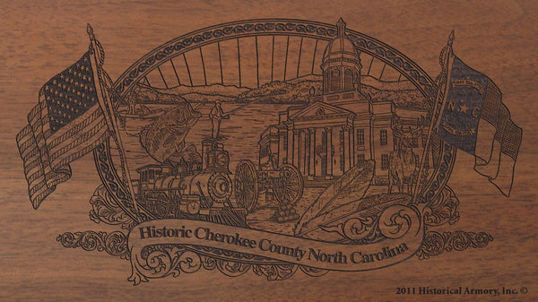 cherokee county north carolina engraved rifle buttstock