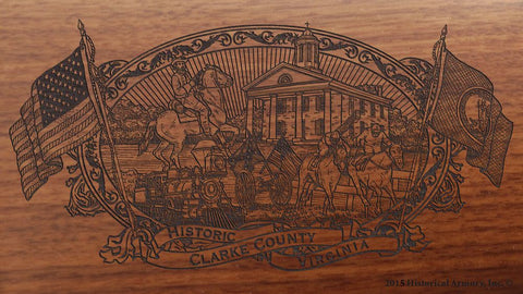 clarke county virginia engraved rifle buttstock