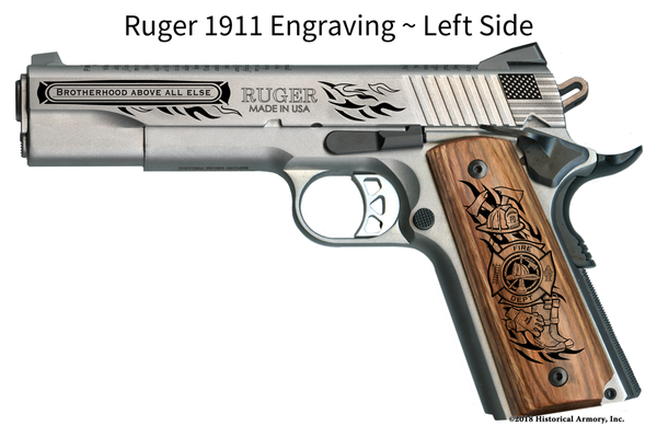 Classic American Firefighter Engraved 1911