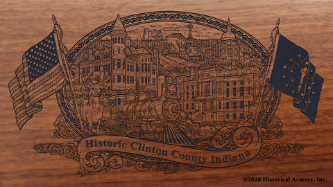 Clinton County Indiana Engraved Rifle Buttstock