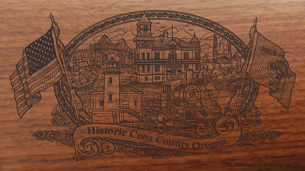 coos county oregon engraved rifle buttstock