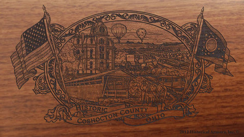 coshocton county ohio engraved rifle buttstock