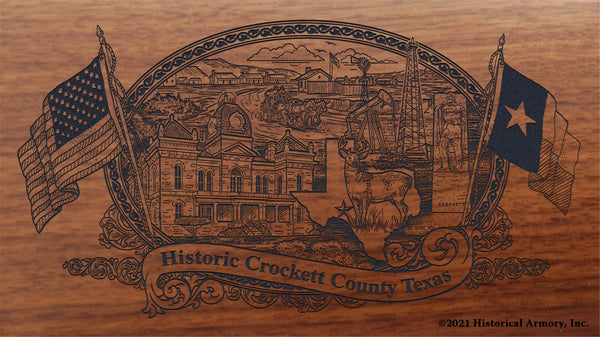 crockett county texas engraved rifle buttstock