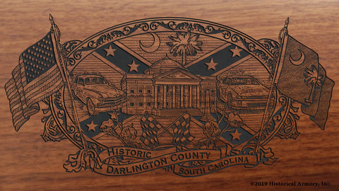 Darlington County South Carolina Engraved Rifle Buttstock