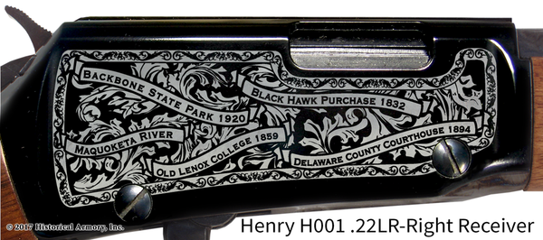 Delaware County Iowa Engraved Rifle