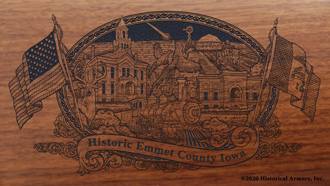 Emmet County Iowa Engraved Rifle Buttstock