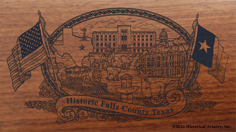 falls county texas engraved rifle buttstock