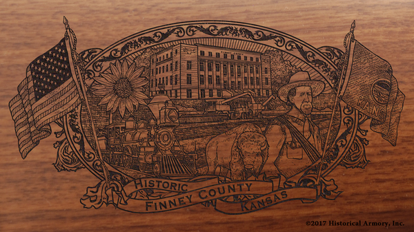 Finney County Kansas Engraved Rifle