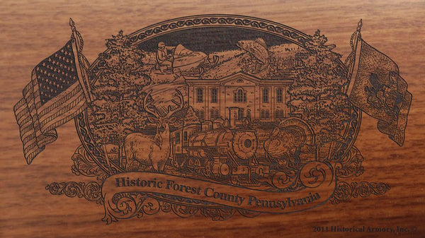 forest county pennsylvania engraved rifle buttstock