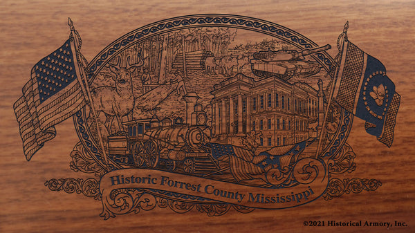 Forrest County Mississippi Engraved Rifle Buttstock