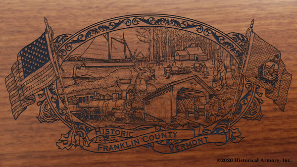 Franklin County Vermont Engraved Rifle Buttstock