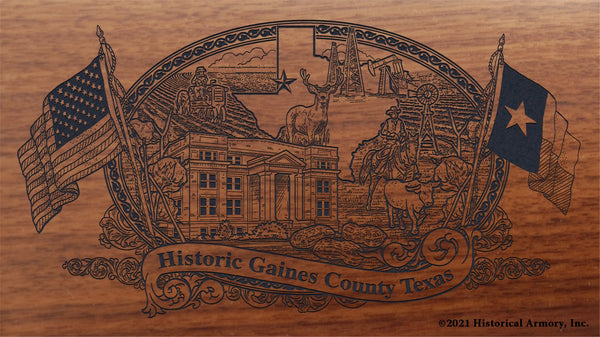 gaines county texas engraved rifle buttstock