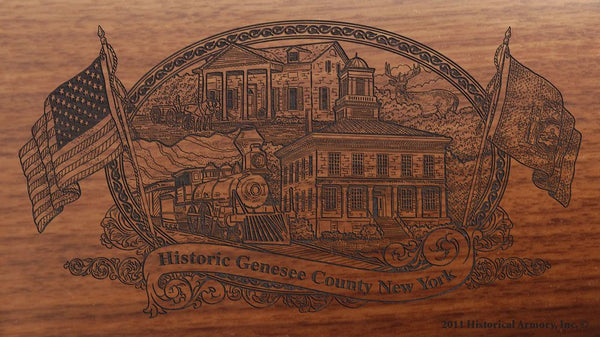 genesee county new york engraved rifle buttstock