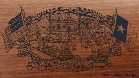 Grayson County Texas Engraved Rifle Buttstock