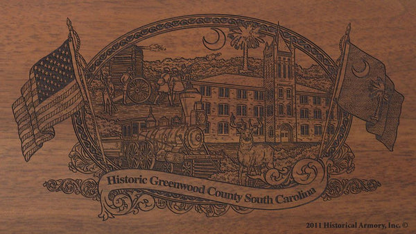 greenwood county south carolina engraved rifle buttstock