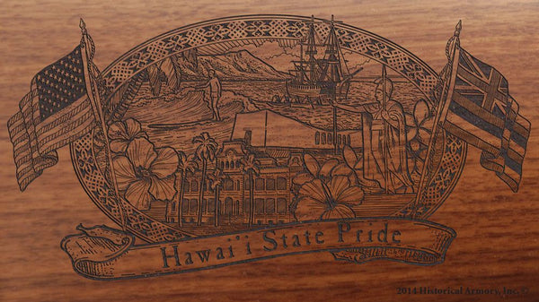 hawaii state engraved rifle buttstock