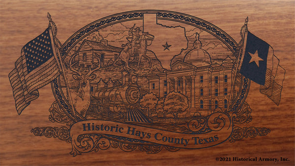 hays county texas engraved rifle buttstock