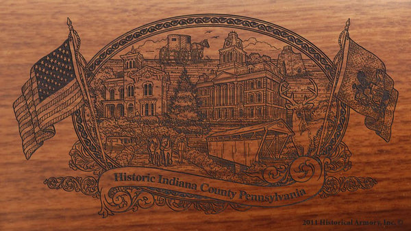 indiana county pennsylvania engraved rifle buttstock