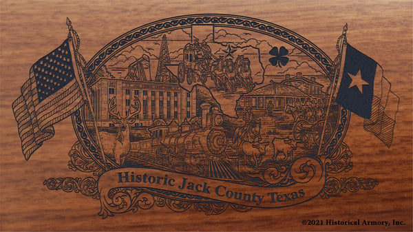 jack county texas engraved rifle buttstock