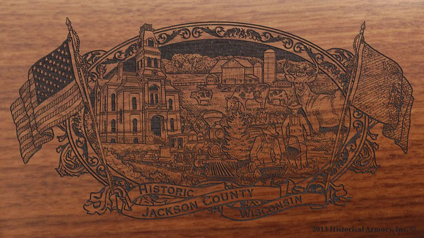 jackson county wisconsin engraved rifle buttstock