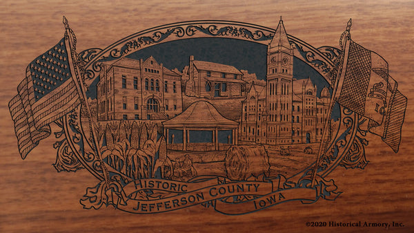 Jefferson County Iowa Engraved Rifle Buttstock