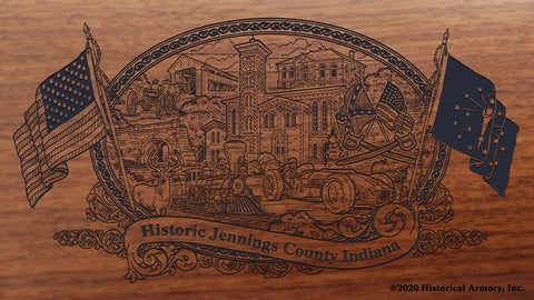 Jennings County Indiana Engraved Rifle Buttstock