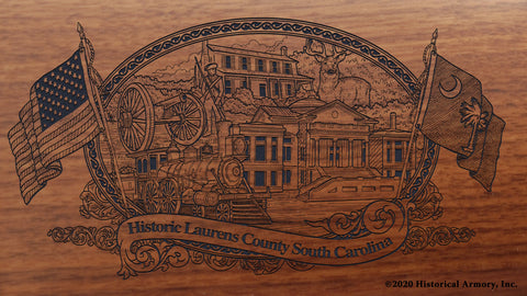 Laurens County South Carolina Engraved Rifle Buttstock