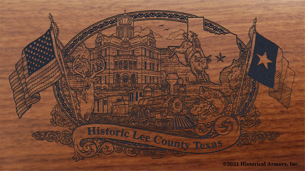 lee county texas engraved rifle buttstock