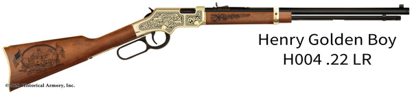 Linn County Kansas Engraved Henry Golden Boy Rifle