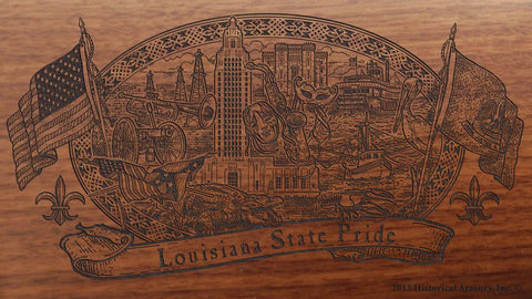 louisiana state engraved rifle buttstock