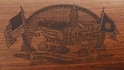 madison county ohio engraved rifle buttstock