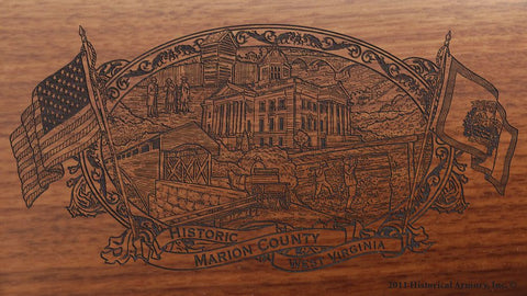 marion county west virginia engraved rifle buttstock