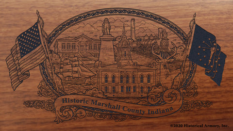 Marshall County Indiana Engraved Rifle Buttstock