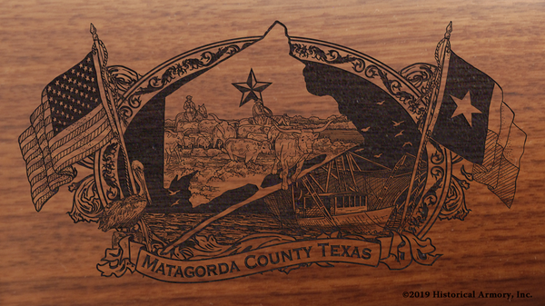 Matagorda County Texas Engraved Rifle