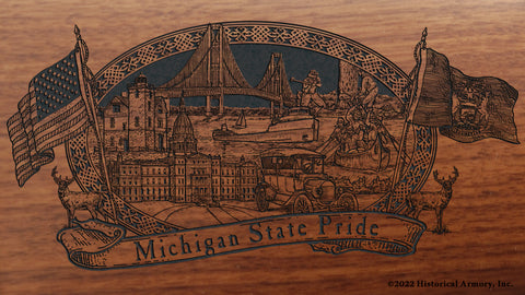 michigan state engraved rifle buttstock