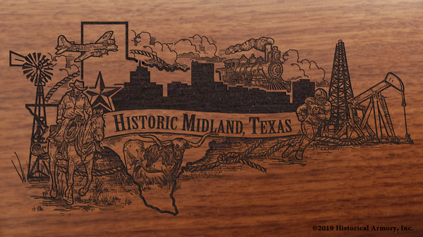Midland Texas Historical City Engraved Rifle