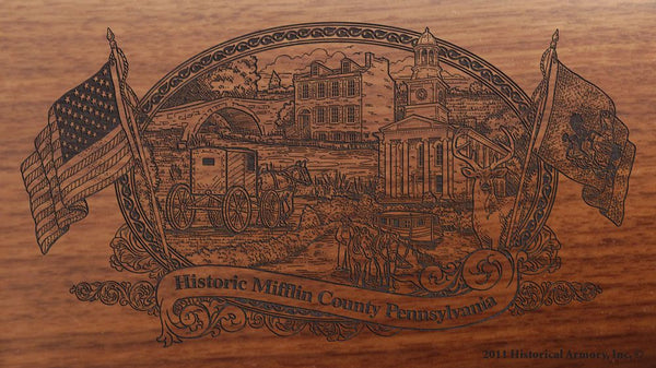 mifflin county pennsylvania engraved rifle buttstock