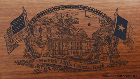 mills county texas engraved rifle buttstock
