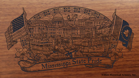 mississippi state engraved rifle buttstock