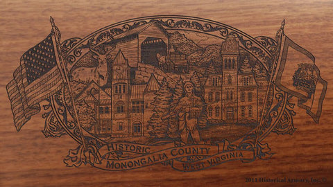 monongalia county west virginia engraved rifle buttstock
