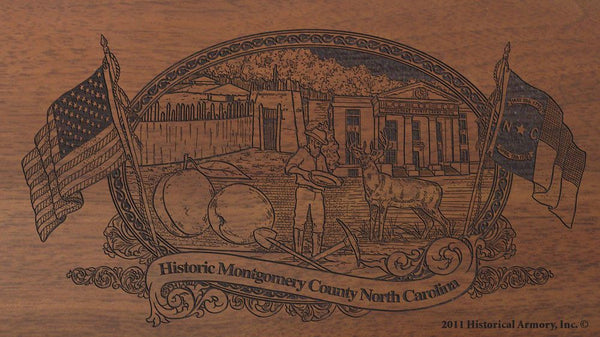 montgomery county north carolina engraved rifle buttstock