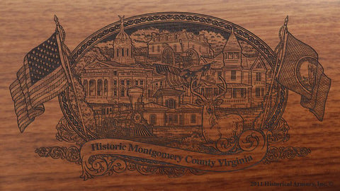 montgomery county virginia engraved rifle buttstock
